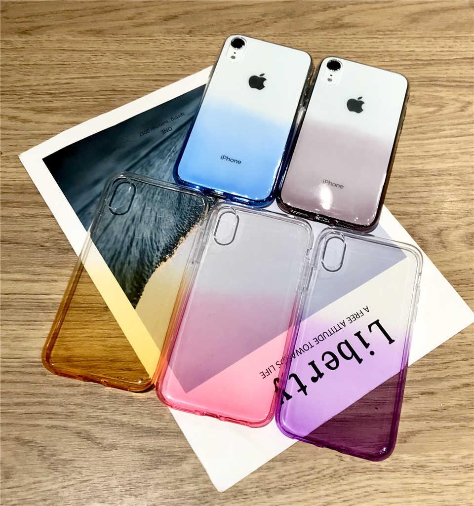 Dégradé arc-en-ciel TPU étui pour iphone XR 6 6 s 7 8 Plus X XS MAX couverture souple Silicone Meizu M3 M3S M5 M6 M6S Note Pro 6 Pro6 5C 5A