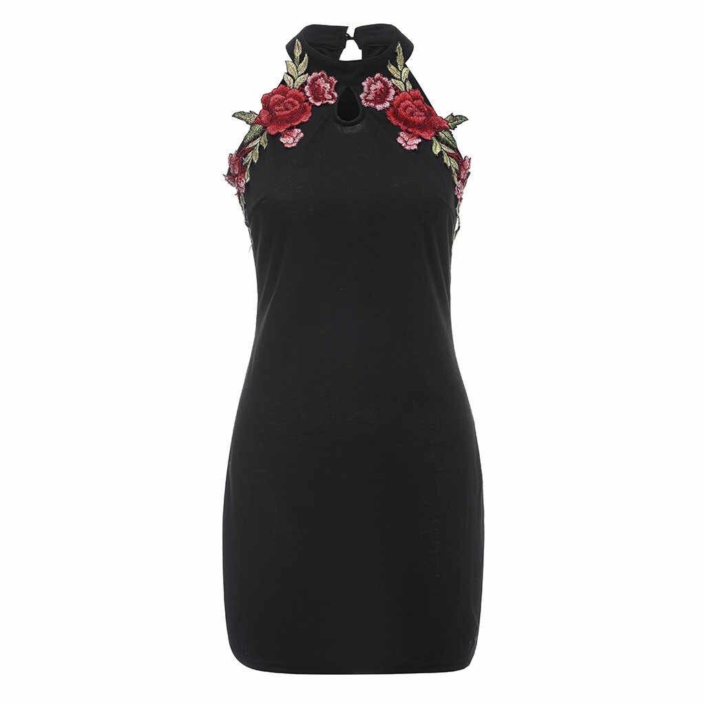 MISSOMO 5XL Kadın elbise Siyah Gül Nakış Çiçek Kolsuz Mini Artı Boyutu Elbise kadın kıyafetleri 2019 robe femme vestidos 620