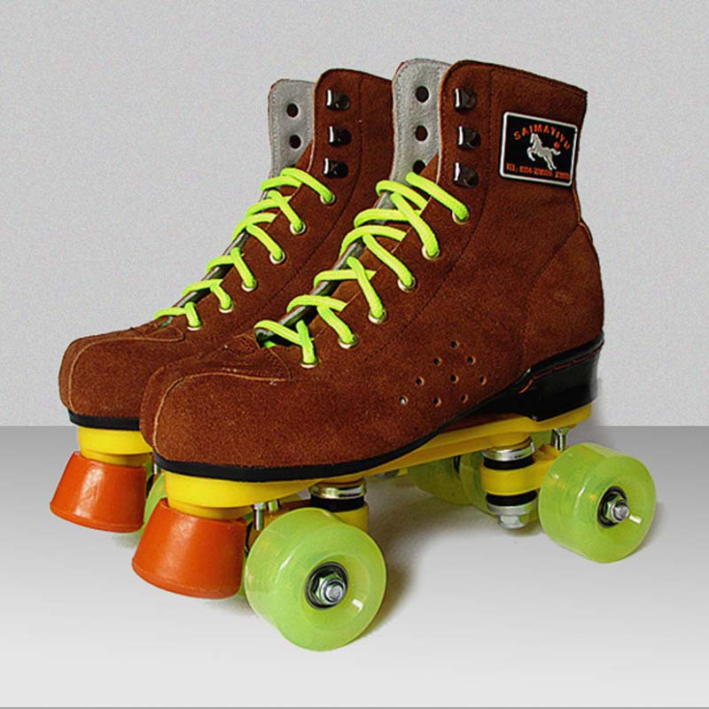 Brown Roller Skates Genuine Leather With Led Lighting Wheels Double Line Skates Adult 4 Wheels Two line Roller Skating Shoes reniaever double roller skates skating shoe gift girls black wheels roller shoe figure skates white free shipping