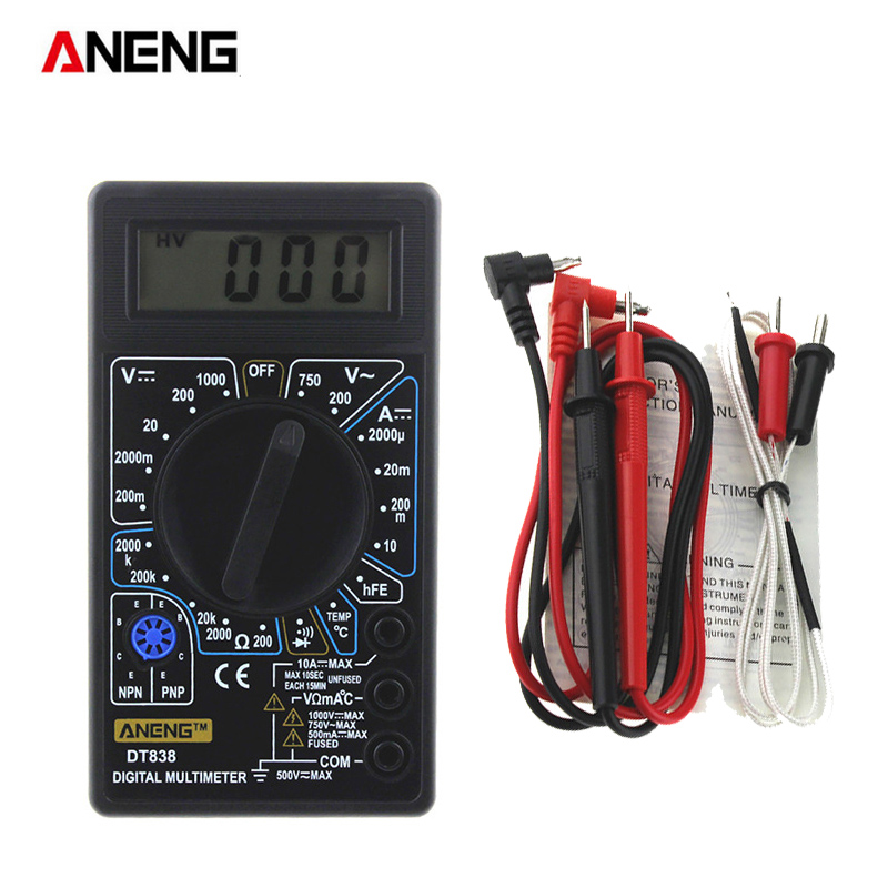 ANENG DT838 Digital Multimeter Tester Voltmeter Measuring Current Resistance Temperature Meter AC DC Ammeter Test Lead Probe цены