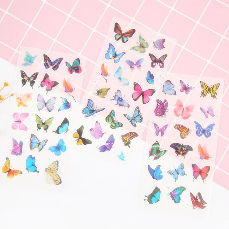 6 Pieces/bag. Personality Creative Butterfly Transparent Sticker Student Stationery Diy Outdoor Decor Sticker Scrapbook Gift
