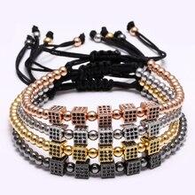 Square Circonitas 2016 pulsera 6mm square circón pulsera Europea y Americana de circón incrustaciones de Micro perlas Trenzado Macrame Brazaletes