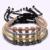 Homens Jóias de alta Qualidade Classe AAA 4mm Real Banhado A Ouro Rodada Contas Praça Micro Embutimento Zircão Trançado Macrame Pulseira pulseira