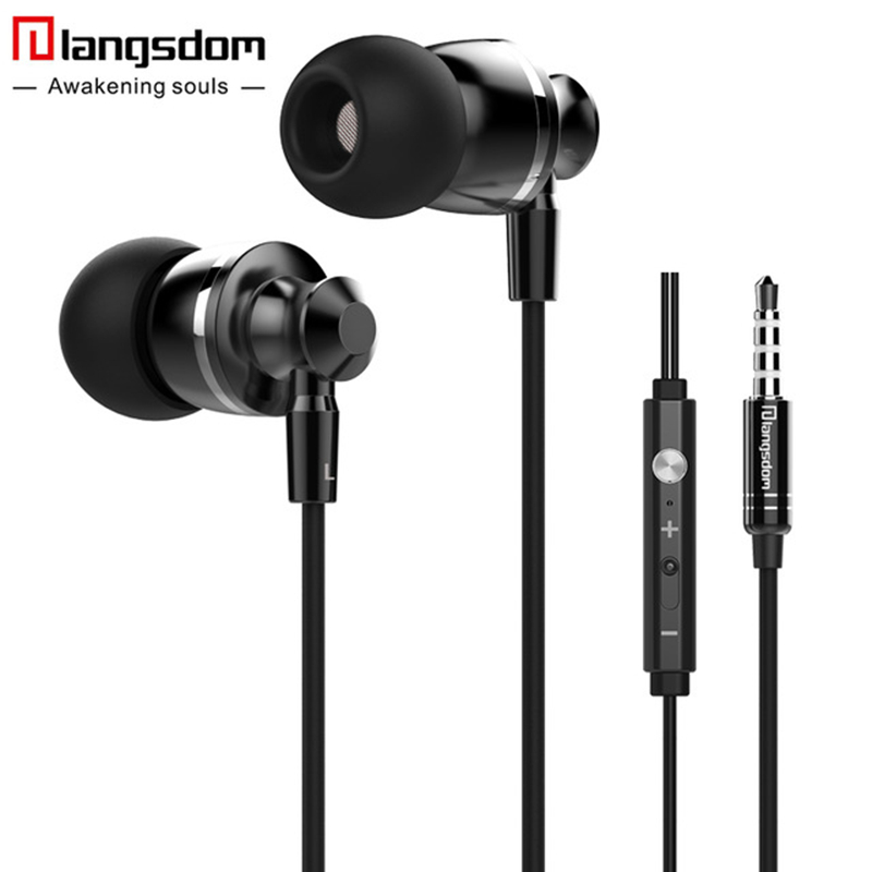 langsdom Hot Volume Control Earphones Bass Stereo Earphones with Microphone In-ear Metal Earbuds for Phone PC fone de ouvido glaupsus gj01 in ear 3 5mm super bass microphone earphones earplug stereo metal hifi in ear earbuds for iphone mobile phone