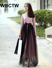 New Arrivals Autumn Winter High Waist Elegant Open Slide Bandage Woman Skirts Tulle Black Runway Skirts Plus Size XXS-7XL