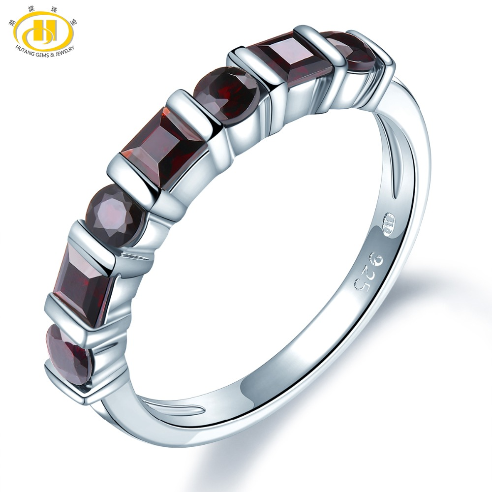 HUTANG Natural Black Garnet Wedding Women's Ring 925 Sterling Silver Rings Gemstone Fine Jewelry Elegant Design For Gift New