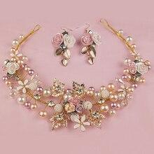 Oro hechos a mano de la flor tocados de boda nupcial perla y cristal de las vendas para novia accesorios para el cabello joyería
