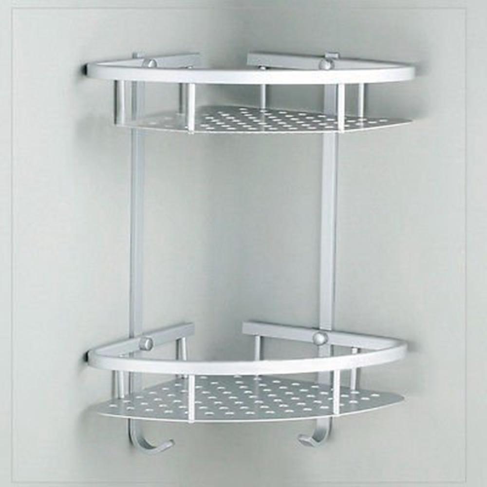 Bathroom 2 Tier Corner Shelf Basket Towel Shampoo Storage ... on Bathroom Corner Shelf  id=58952