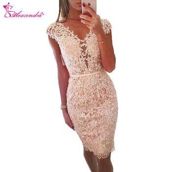 Alexzendra Lace V Neck Knee Length Sexy Prom Dresses 2018 V Back Short Evening Dress Party Dresses Customize