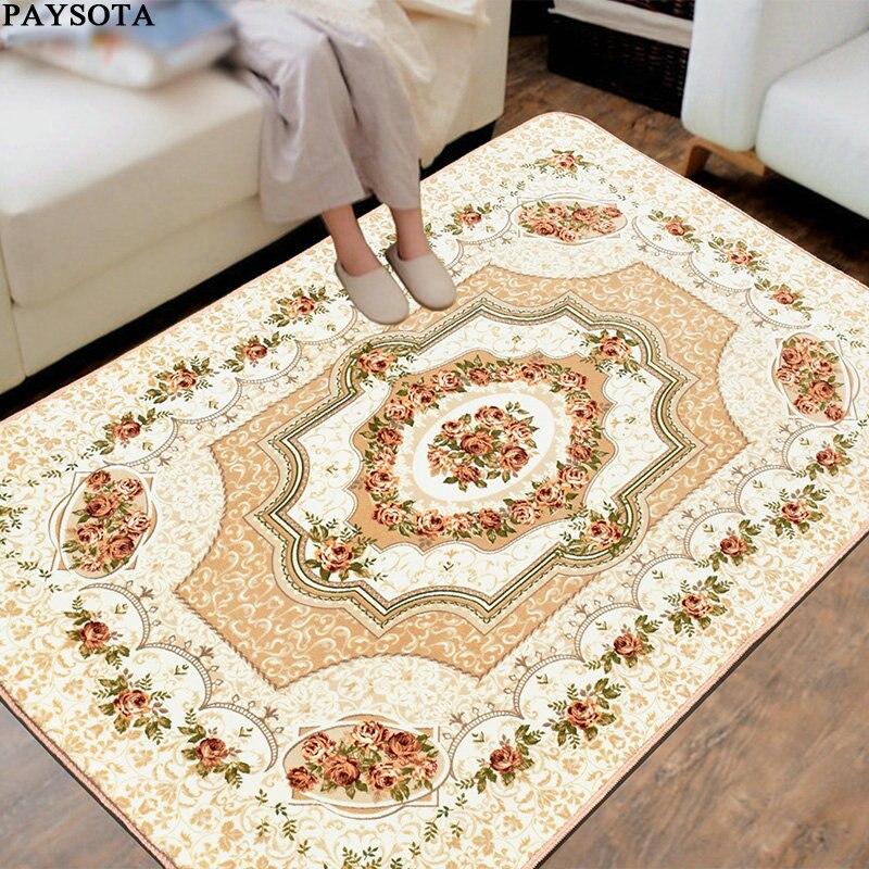 Paysota European Living Room Carpet Non Slip Bedroom Coral Velvet Sofa Mat Machine Washable Rug