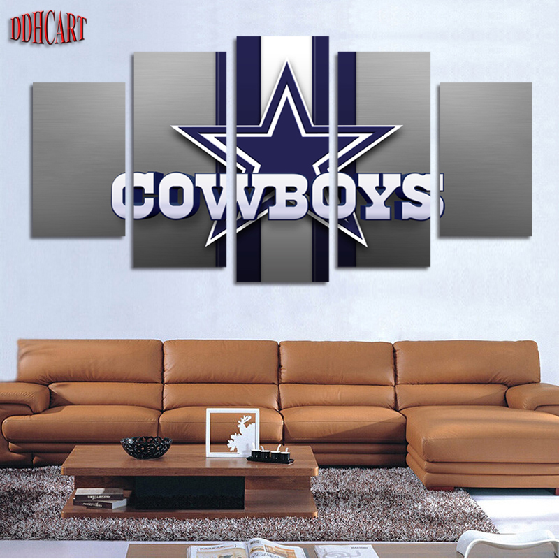 5 Piece Canvas Art Wall Art Prints Painting Canvas Home Decor Poster Cowboys Picture Modern Artwork