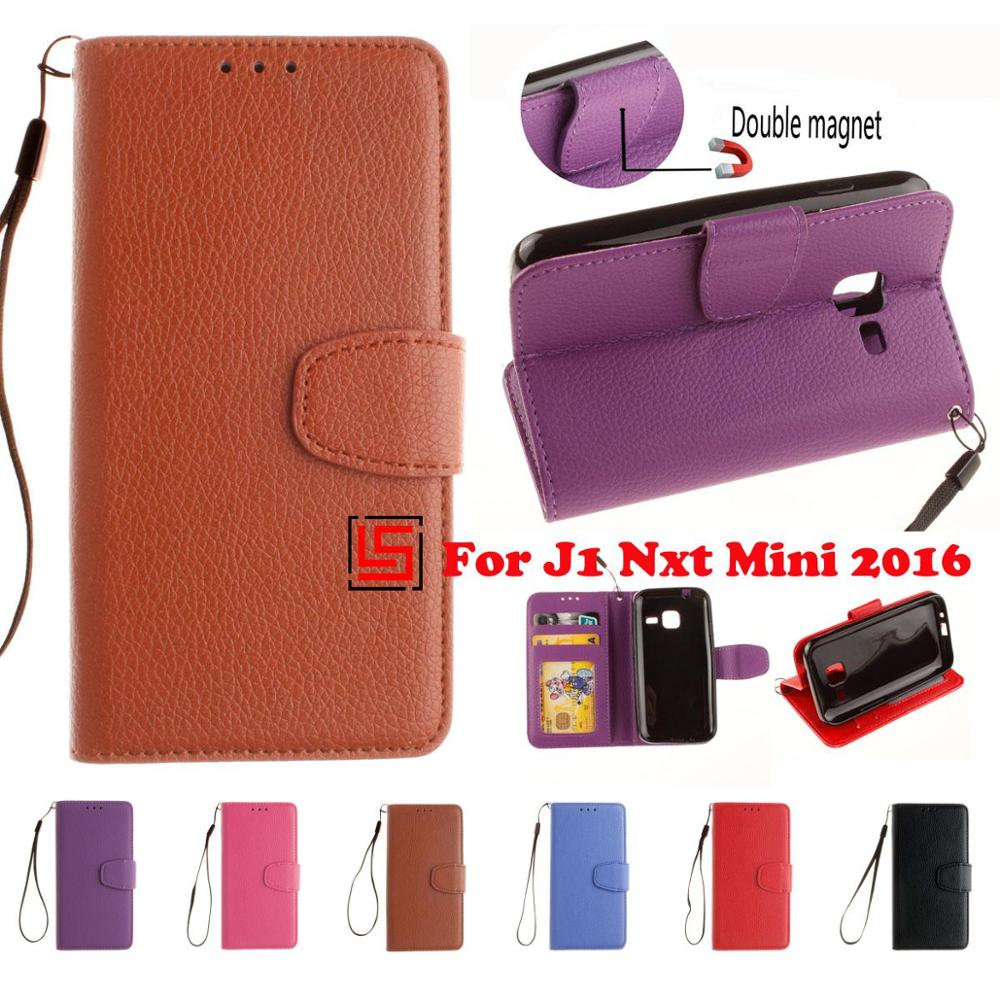PU Leather Leathe Flip Clamshell Wallet Phone Case Cover For Samsung Samsug Galaxy <font><b>J1</b></font> mini <font><b>2016</b></font> Nxt J1mini Purple Red image