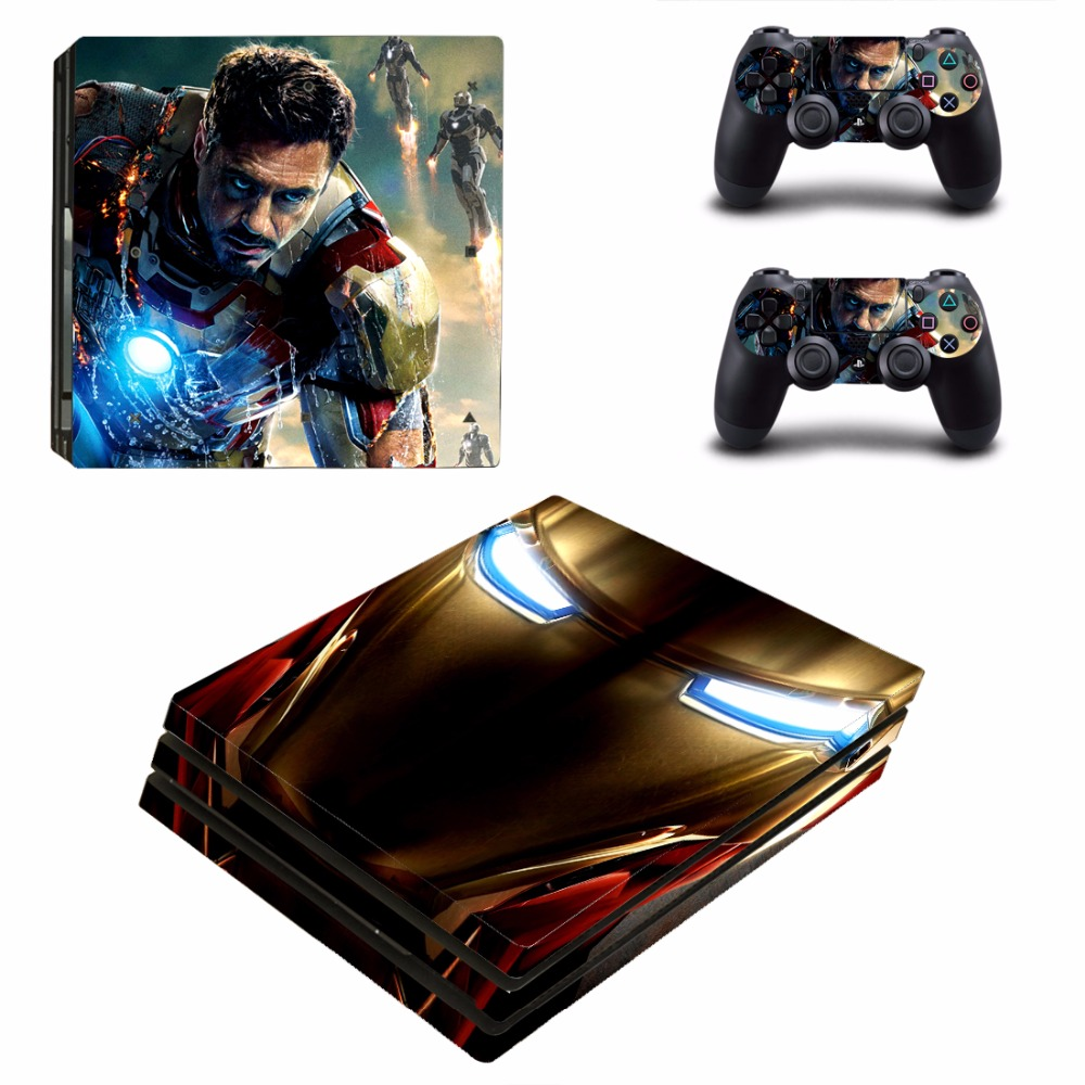 Iron Man PS4 Pro Skin Sticker For Sony PlayStation 4 Console and Controllers PS4 Pro Stickers Decal Vinyl