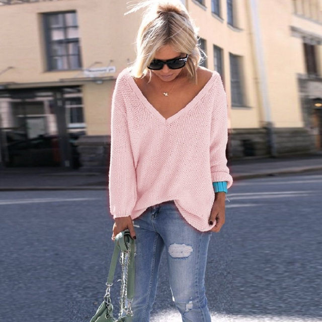 LOSSKY Sexy Deep V Neck Long Sleeve Thin Loose Autumn Sweater Women 2018  Plus Size Knitted Pink Black Pullovers Pull Femme Hiver ea0d94221