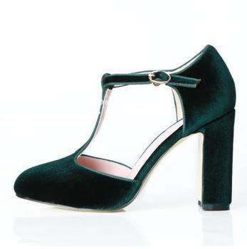 Retro Green Heels Women Shoes High Heels T-strap Velvet  Square Heel Women Pumps Real Photo Chunky Heels Ladies Banquet Shoes