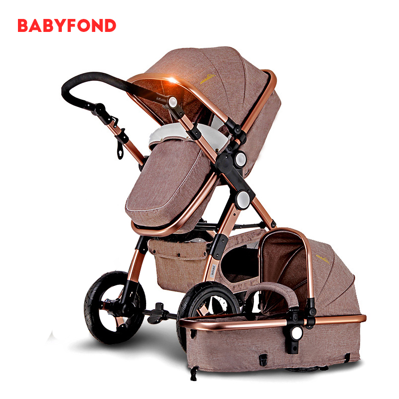 цены 2-in-1 baby stroller with Inflatable wheel can be lying dual-use baby carriage European high landscape trolley