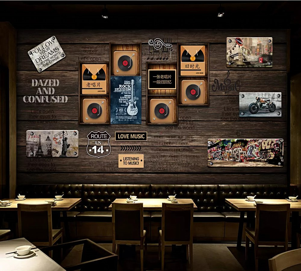 Genteel Free Shipping Custom Wallpaper Wall Mural Nostalgic Vintage Wooden Board Vinyl Old Record Bar Restaurant Background Wall Picture