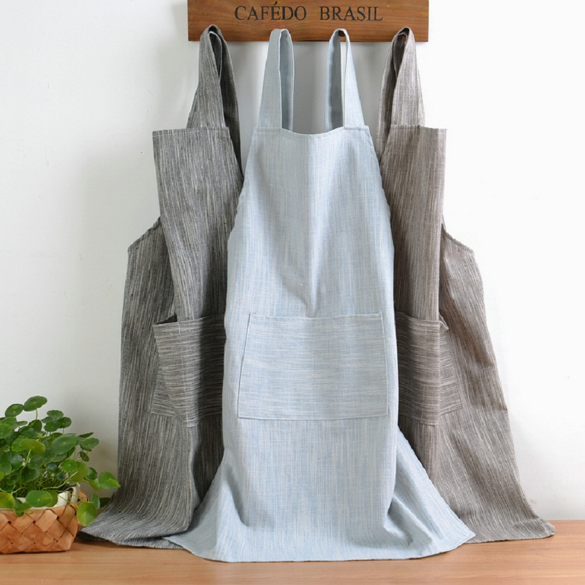 New Japanese Style Solid Color Cotton Hemp Unisex  Apron Coffee Shops Work Cleaning Aprons For Woman Kitchen Baking Daidle Bib
