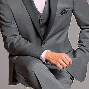 Image 3 - New Grey Peak Lapel Groom Tuxedos Bridegroom Men Suit 3Pieces Custom Made Latest Design Groom Blazer(Jacket+Pant+Vest+Tie)