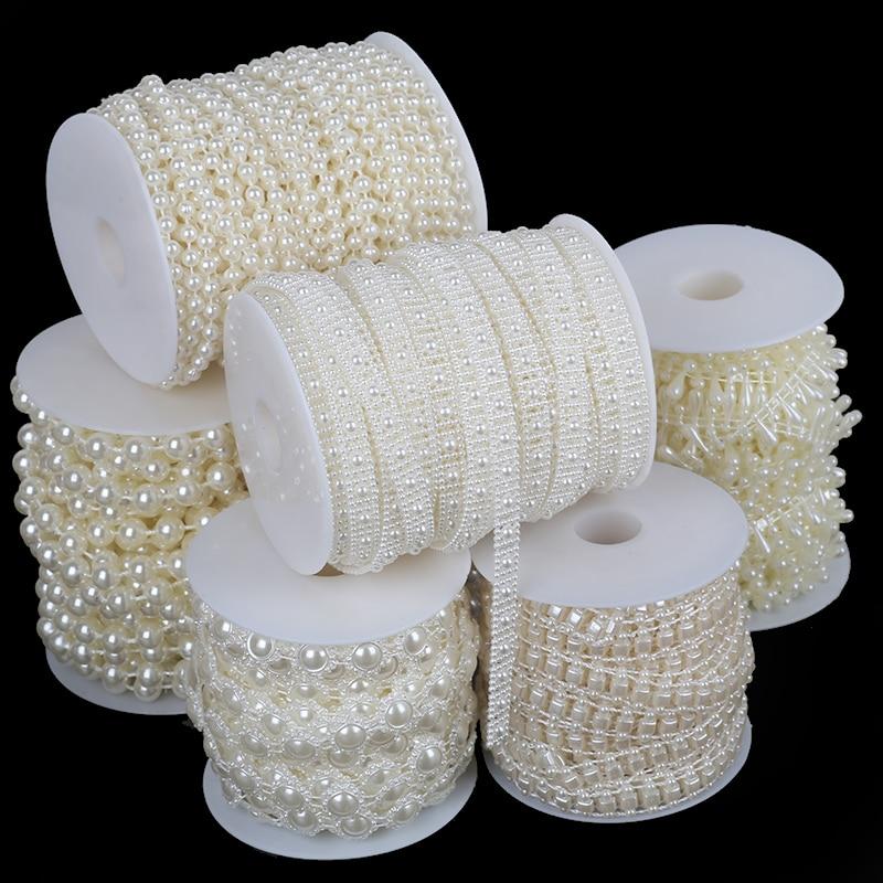 Multi-size Imitation Pearl Beads Chain Garland Flatback Acrylic Beads For Jewelry Making DIY Needlework Accessories