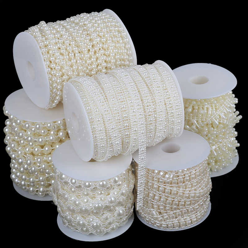 Multi-size Imitation Pearl Beads Chain Garland Flatback Acrylic Beads For Jewelry Making DIY Needlework Accessories