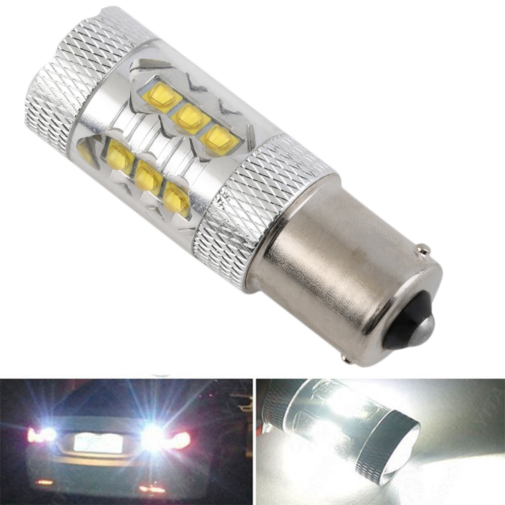 1Piece Car lights Super Bright White 80W LED SMD 1156 Ba15s S25 P21W Backup Reverse Light Bulb Car Styling Good Quality