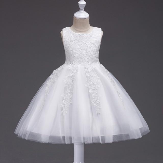 New Years Dress Flower Girls Dress Fashion Baby Girl White Wedding
