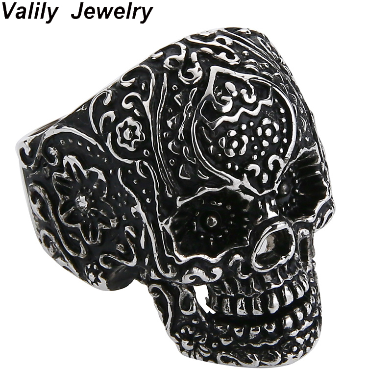 Valily Skull Ring For Men 100% 925 Silver Sterling Rings Jewelry Punk Skeleton Finger Ring Silver Black Vintage Ring For Male thailand imports skull blood new skeleton silver ring