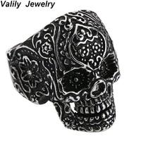 Valily Skull Ring For Men 100% 925 Silver Sterling Rings Jewelry Punk Skeleton Finger Ring Silver Black Vintage Ring For Male