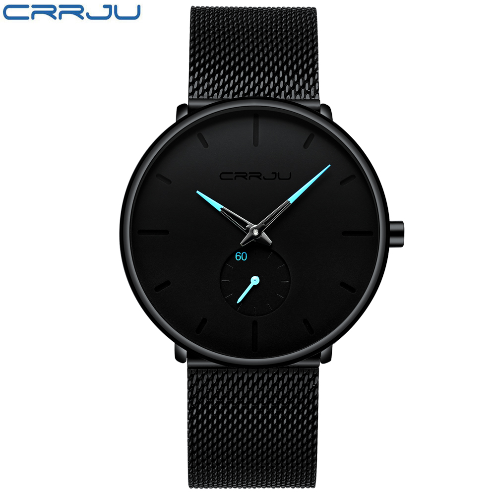 Crrju Fashion Mens Watches Top Brand Luxury Quartz Watch Men Casual Slim Mesh Steel Waterproof Sport Watch Relogio Masculino 1