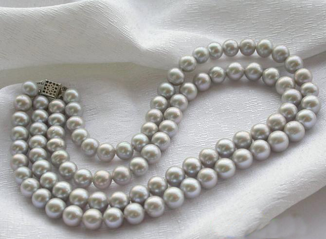 Fashion Women Pearl Jewellery,AA 2 Rows 9-10mm Gray Color Round Freshwater Cultured Pearl Necklace,Wholesale ,New Free Shipping недорого