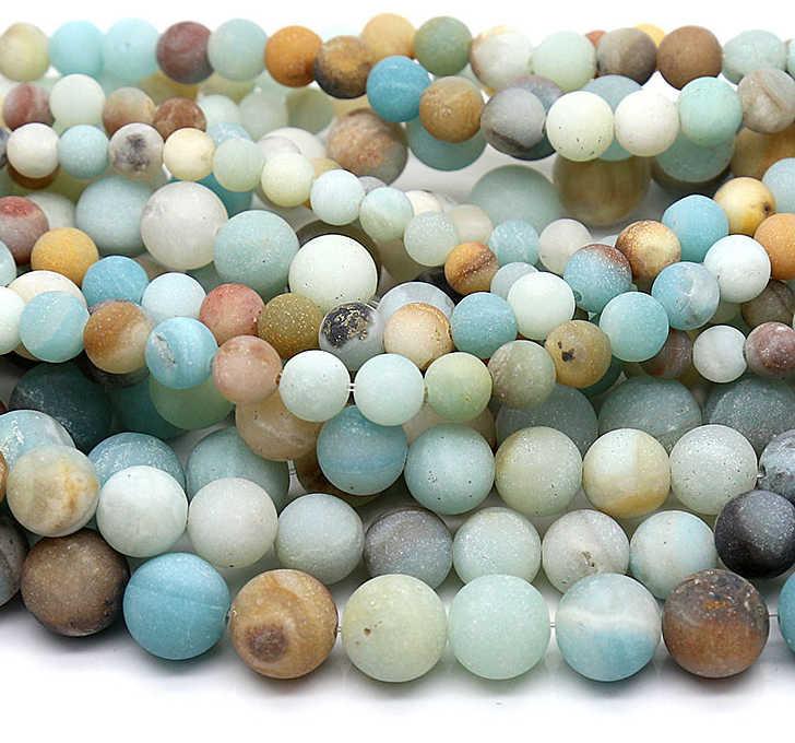Amazonite matta หินธรรมชาติสร้อยข้อมือผู้ชายเครื่องประดับ spacers หลวมลูกปัด choker สร้อยคอต่างหู charms minerals