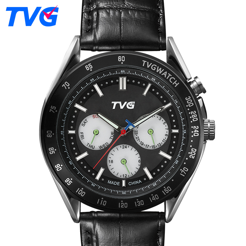Halloween Gift TVG Watch Fashion Casual Quartz Watch Men waterproof Leather strap Male Quartz-watch EL Backlight relojes hombre tvg 801 male double movt quartz digital watch