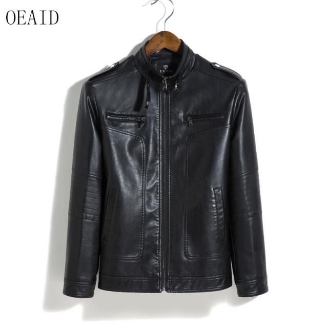 9bda22e8b98 OEAID Plus Size Leather Jacket Men 2018 New Leather Coat Men Short Slim  Spring And Autumn Male Motorcycle Leather Clothing Red
