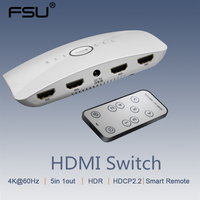 HDMI Splitter Switch 2.0 4K 60Hz 5 in 1 out Adapter HDR Switcher with remote control for HDTV PS4/3 Laptop Xbox HDMI adapter