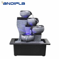 110/220V Simple Geometry Water Fountain Resin Craft LED Crystal Ball Water Feature Office Desktop Ornament Lucky Home Decor Gift