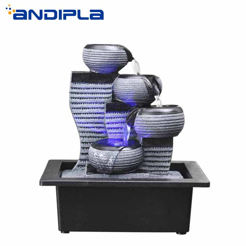 110/220V Simple Geometry <font><b>Water</b></font> <font><b>Fountain</b></font> Resin Craft LED Crystal Ball <font><b>Water</b></font> Feature Office Desktop Ornament Lucky <font><b>Home</b></font> <font><b>Decor</b></font> Gift image