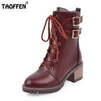 TAOFFEN Women Half Short Knight Boots Corss Strap High Heel Boots Thick Fur Shoes Winter Long