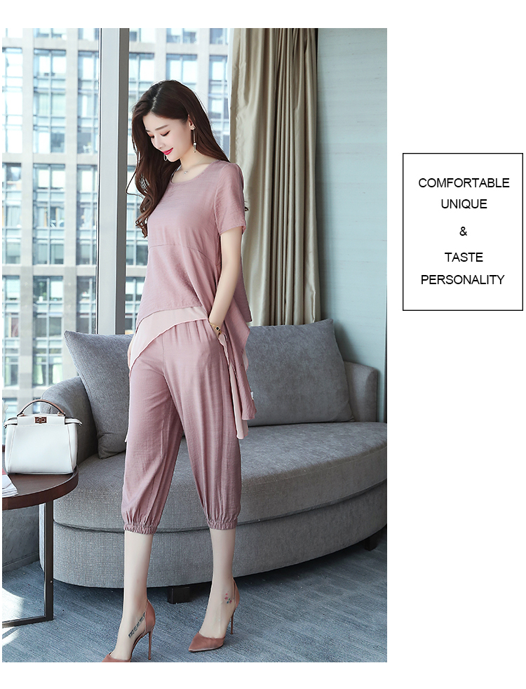 2019 Summer Linen Two Piece Sets Women Plus Size Short Sleeve Tops And Cropped Pants Suits Office Elegant Casual Women's Sets 66