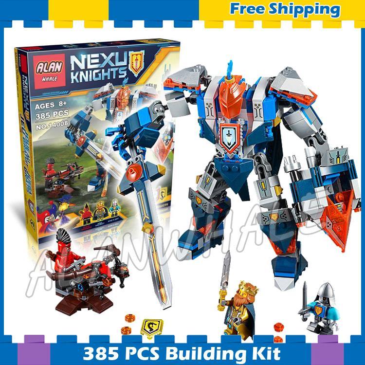 385 шт. Рыцари Kings мех сабля роботы мобильный костюмы 10487 модель строительные блоки детей Nexus подарки, совместимые с LEGO