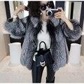 Natural Full Pelt Genuine Real Fur Coats for Women Whole Skin Silver Fox Fur Coat Woman Slim Waistcoats Outerwear 70*45 BF-C0015