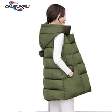 Hot sales Autumn Winter Women Vest Waistcoat Sleeveless Jacket Cotton Warm Hooded outwear Long Coat Vest Plus Size Female