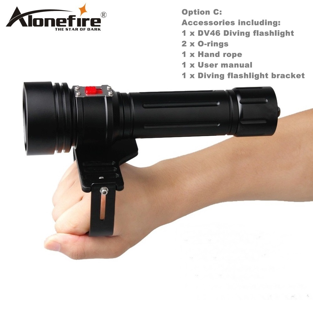 AloneFire DV46 Led Dive Light CREE XM L2 U4 3800lm LED Scuba Technical Diving Torch Flashlight 200M Underwater 32650 flashlight 100m underwater diving flashlight led scuba flashlights light torch diver cree xm l2 use 18650 or 26650 rechargeable batteries