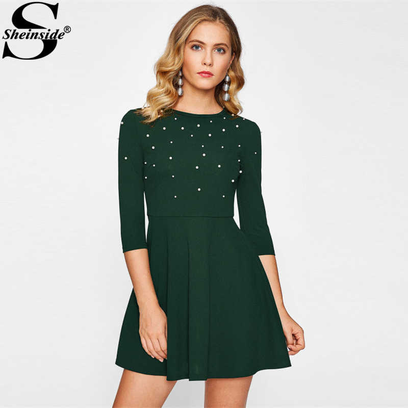 Sheinside Green Winter Round Neck Dress Elegant Half Sleeve Pearl Beading Embellished Fit And Flare Dresses Women Short Dress