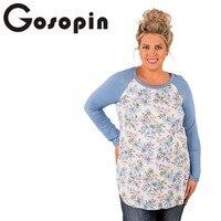 Gosopin Floral Print T Shirt Women Plus Size XXXL Long Blue Sleeve Ladies High Quality Women