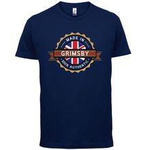 цена на Made In GRIMSBY Mens T-Shirt - Town / City - 13 Colours Print T Shirt Mens Short Sleeve Hot Tops Tshirt Homme