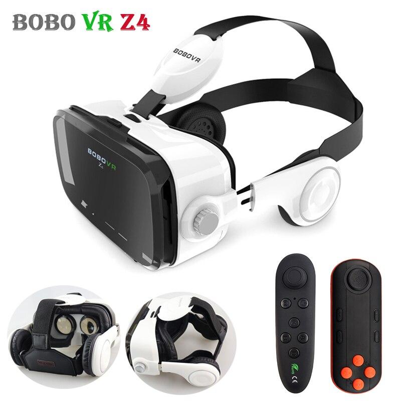 Original Couro Z4 BOBOVR 3D Papelão Capacete Óculos de Realidade Virtual VR VR BOBO Caixa de Fone de Ouvido Estéreo para 4-6 'Móvel telefone