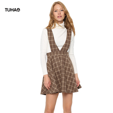 TUHAO Autmn Winter Casual Mini Skirts Women High Waist Slim Strap Woolen Plaid Skirt Femme TB5736