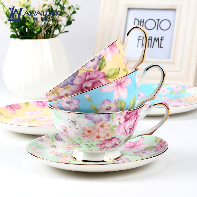 Export Level High Quality European Style Flower Pigmented Coffee Sets Bone China Ceramic Tea Coffee Cups Sets With Dish