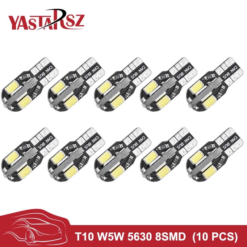 YASTARSZ 10PCS Canbus T10 8smd 5630 5730 LED car Light Canbus NO OBC ERROR T10 W5W 194 8 SMD Led Bulb white 12V Car-styling t10 3w 144lm 6 x smd 5630 led error free canbus white light car lamp dc 12v 2 pcs